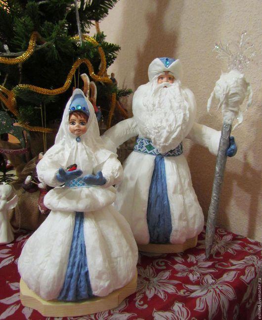 Коллекционные куклы ручной работы. Большой ватный Мороз и Снегурочка под елку. ЕЛЕНА ШВЕДОВА ДУШЕВНЫЙ ВОЙЛОК. Ярмарка Мастеров.