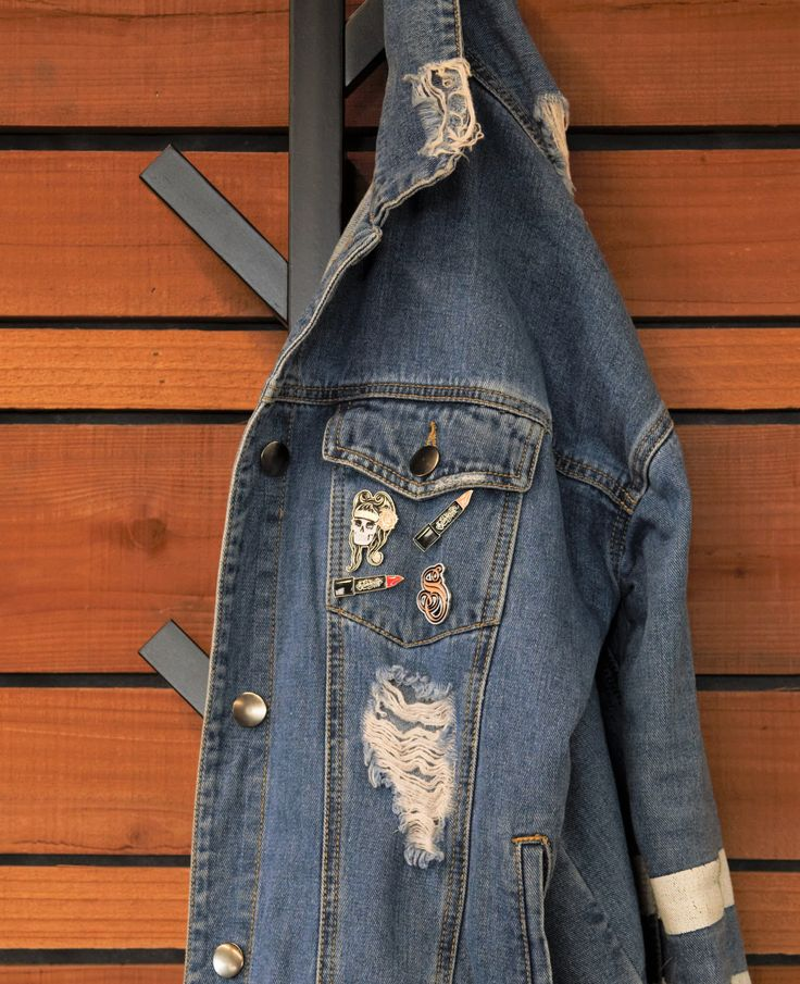 Denim Jackets are cute, but not as cute as they can be. Add a pin or two; why not. Shop the Suavecita Enamel Pins on Suavecita.com. #SuavecitaPomade #Suavecita #EnamelPins #Pins #Denim #Jackets #Accessorize #Accessories #Jean #Fashion #Style #Beauty #Getitrucca!