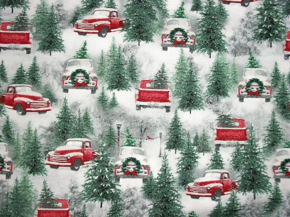 Red Truck Fabric, Christmas Fabric, Holiday Fabric, By The