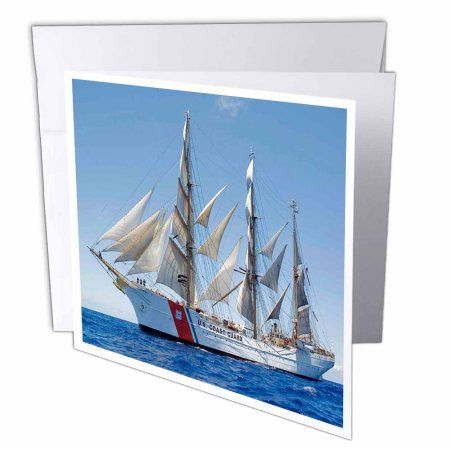 3dRose Print of Coast Guard Boat, Greeting Cards, 6 x 6 inches, set of 12