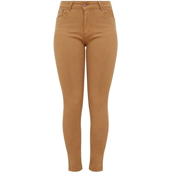 Tan Low Rise Skinny Jeans ($38) ❤ liked on Polyvore featuring jeans, bottoms, calças, pants, skinny fit denim jeans, skinny leg jeans, tan jeans, brown skinny jeans and cut skinny jeans