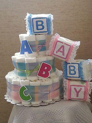 3 Tier Diaper Cake ABC Alphabet Baby Shower Gift Centerpiece