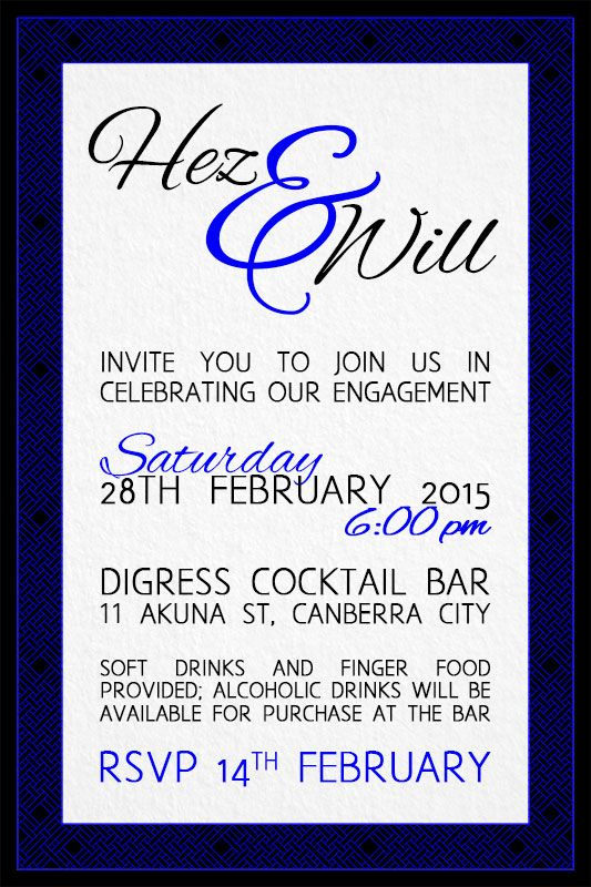 Wren & Rabbit Event Production - Will & Heather Engagement Party Invitation