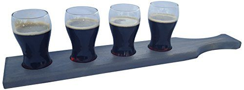 Beer Flight Set Beer Paddle with Mini Pub Beer Tasting Glasses Perfect Home Bar Taste Testing Set For Craft Beer Hand Made In the USA 1 Vintage Grey *** Click image to review more details.