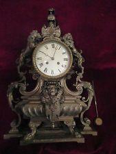 Антикварные настольные часы ~ серебряные пластины над бронзой