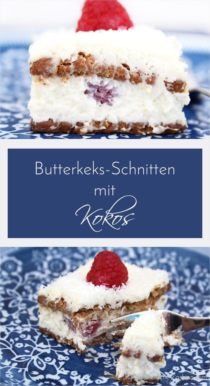 Butterkeks-Quark-Schnitten mit Kokos und Himbeeren | http://www.a-little-fashion.com/food/rezept-butterkeks-quark-schnitten-kokos-himbeeren