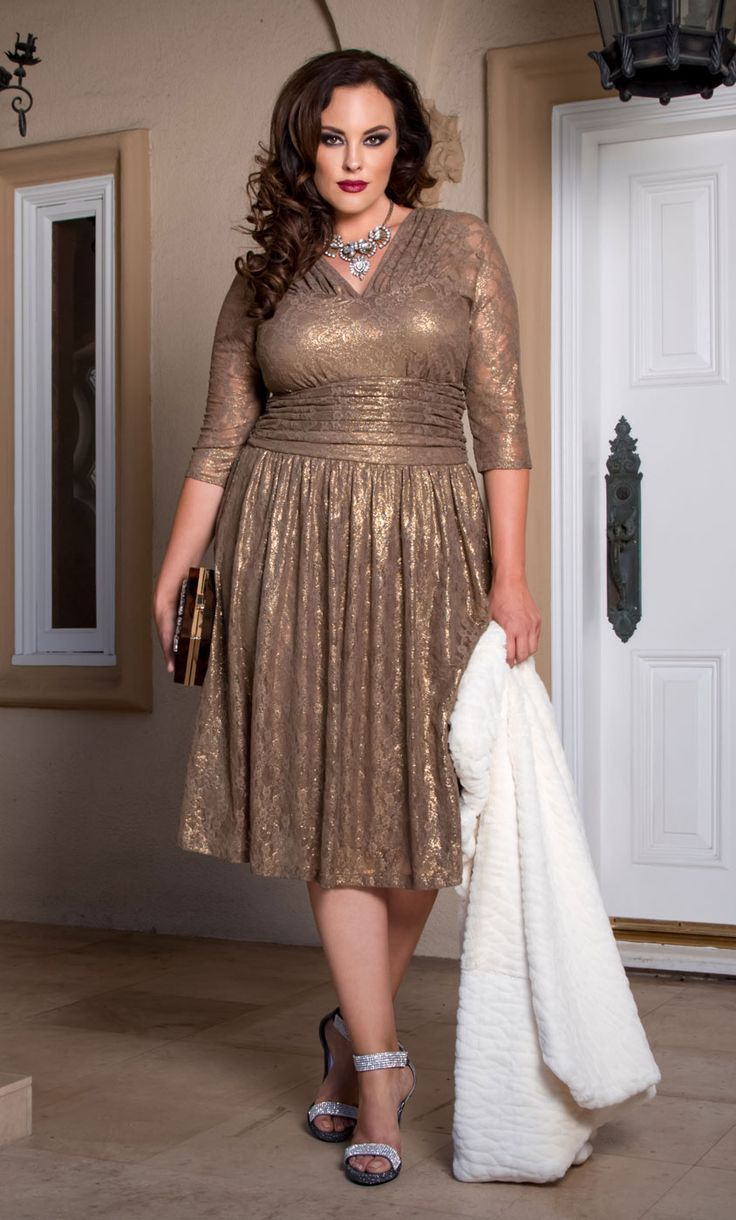 Plus Size Cocktail Dress - Plus Size Metallic Lace Dress at Kiyonna
