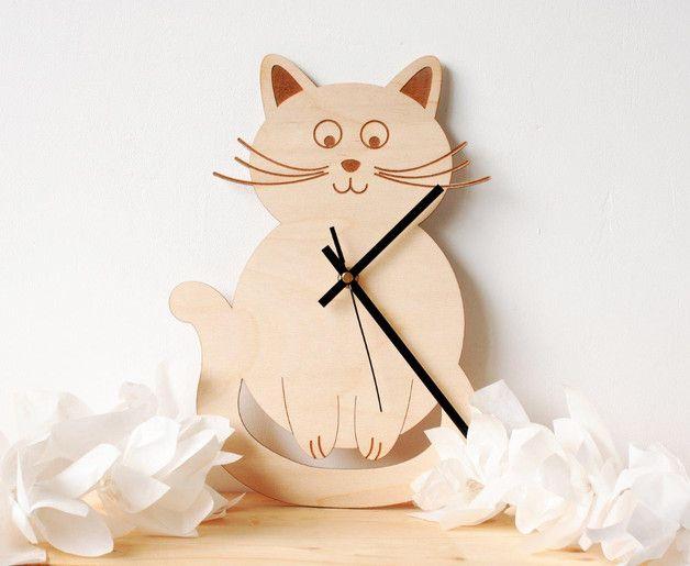 via en.dawanda.com Clocks – Cute cat wall clock - cat lovers gift – a unique product by Martins-8Trees on DaWanda