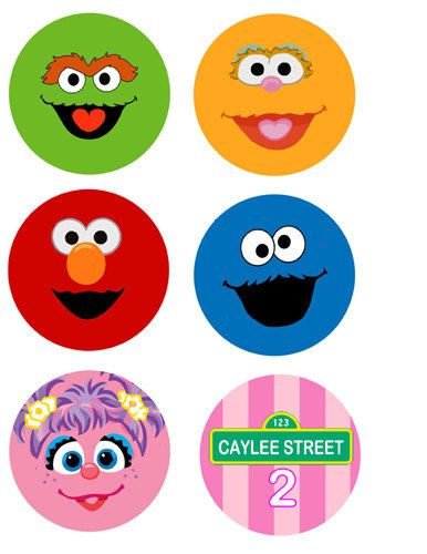 Sesame Street Birthday Cupcake Toppers Party Circles pink or blue Print as many as you need via Etsy