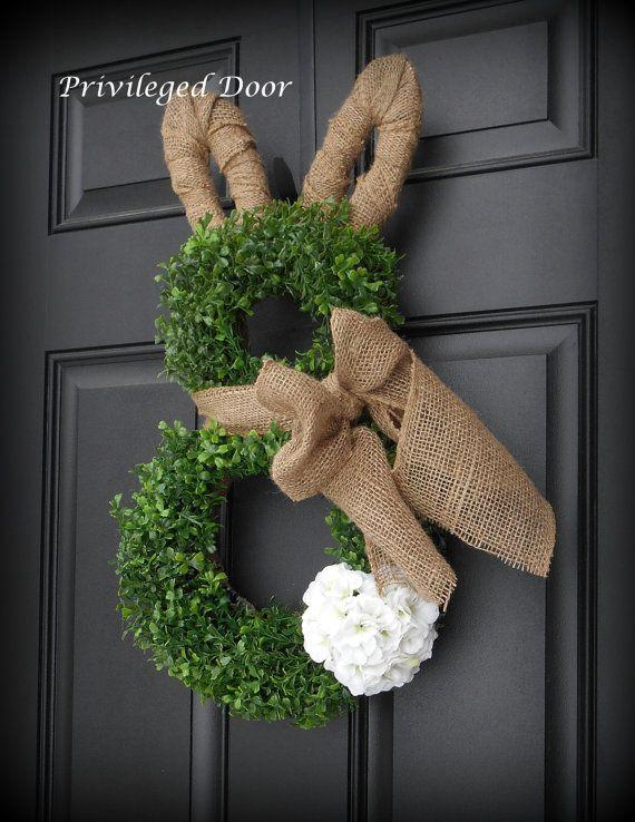 Easter Wreath. Easter Bunny Wreath. Boxwood by PrivilegedDoor