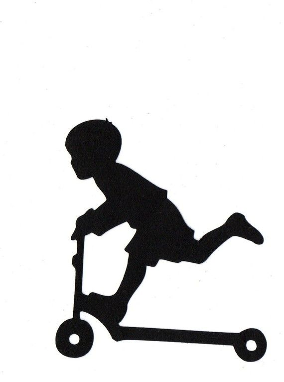Boy Riding Scooter Child Silhouette Die Cut For Scrap