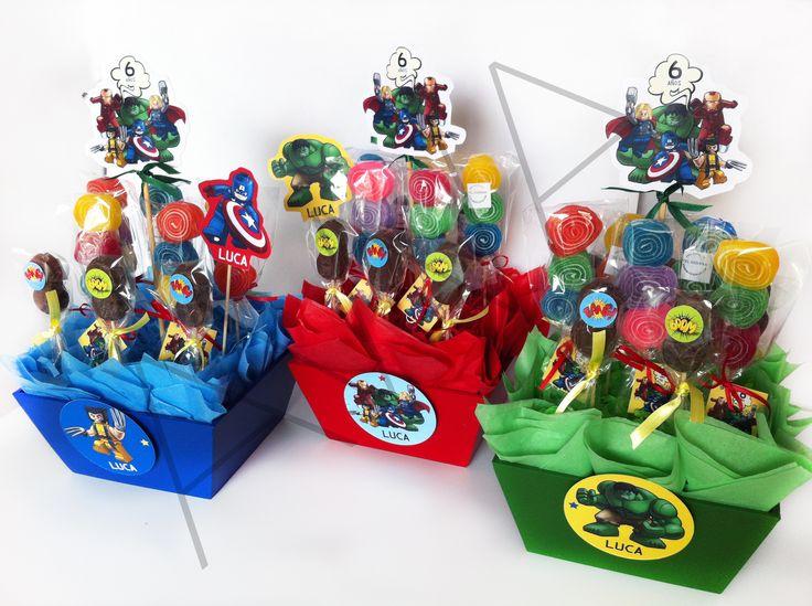 centros de mesa para fiestas. Tema superheroes