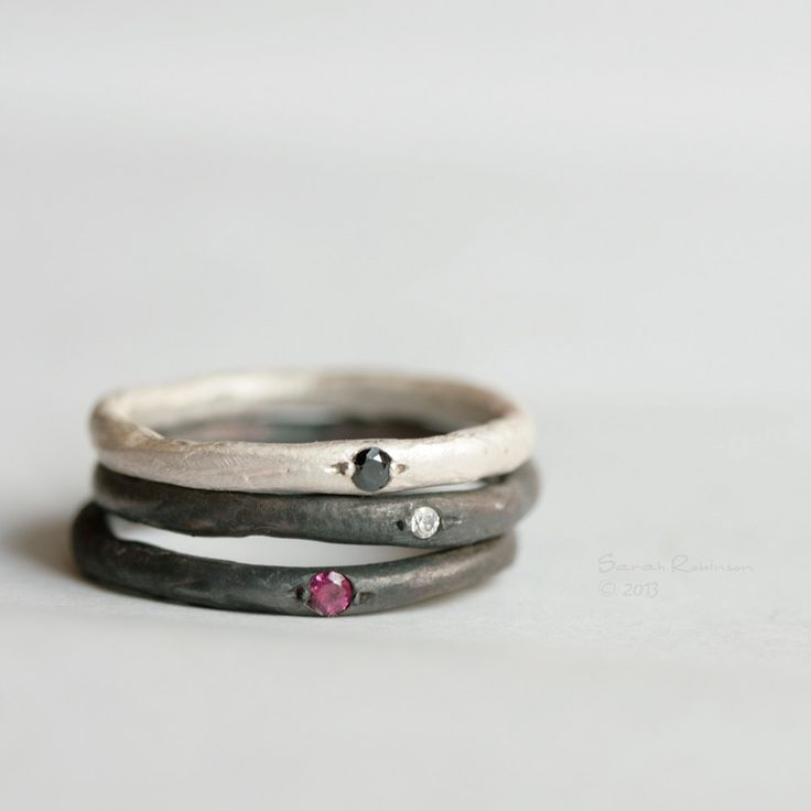 Black and White Stacking Rings with Stones Cubic Zirconia Gem Red Sterling