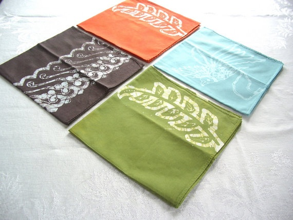 eclectic napkin set jade charcoal moss brick by margotbianca, $32.00
