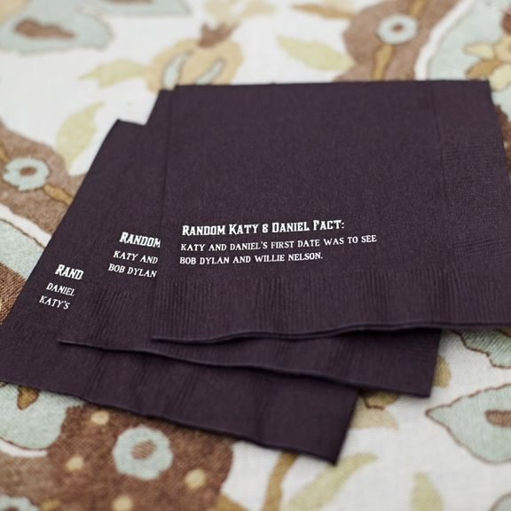 Random Facts about couple printed on napkins