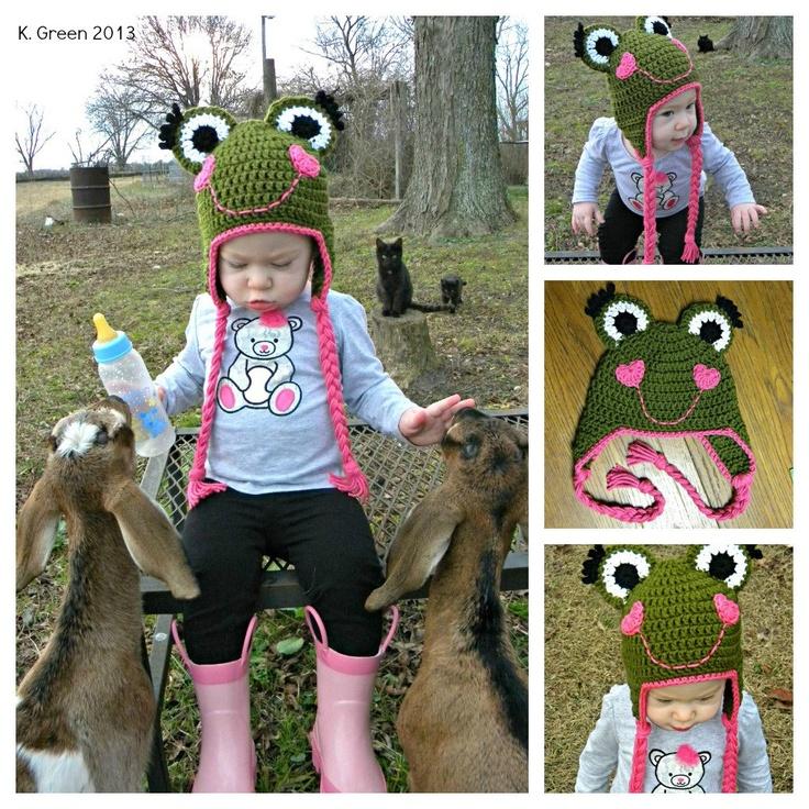 Valentine Frog Crochet Earflap Hat PDF Pattern. $4.00, via Etsy.