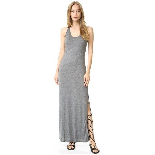Haute Hippie Tank Dress (195 BRL) ❤ liked on Polyvore featuring dresses, charcoal heather grey, jersey dress, maxi dresses, sleeveless jersey dress, tank maxi dress and grey dresses
