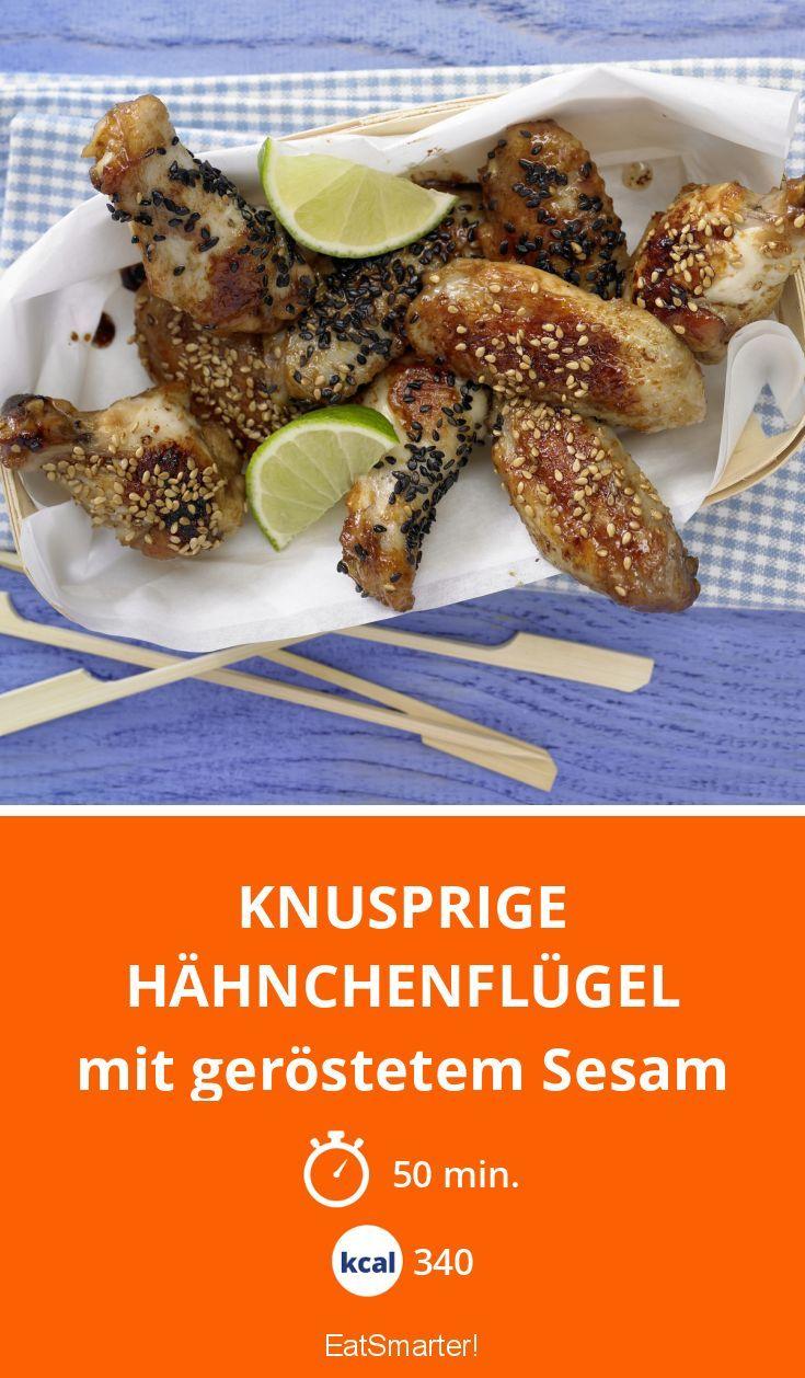 Knusprige Hähnchenflügel - mit geröstetem Sesam - smarter - Kalorien: 340 Kcal - Zeit: 50 Min. | eatsmarter.de