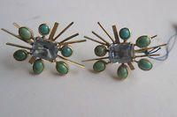 Ohr-Schrauben 40er-Jahre-Schmuck 585er Gold Blau-Topaz und Türkise selten rar