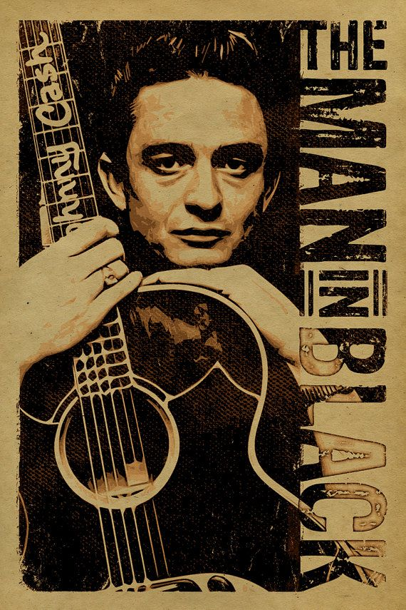 Johnny Cash poster. 12x18. Country Music. Kraft door UncleGertrudes