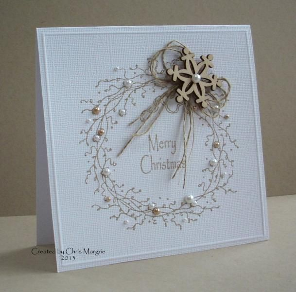 handmade Christmas card ...  Rustic Wreath by ceedee ... white base with grapevine wreath stamped in kraft ... lenin bos and wood snowflake cut-out ... lovely!!
