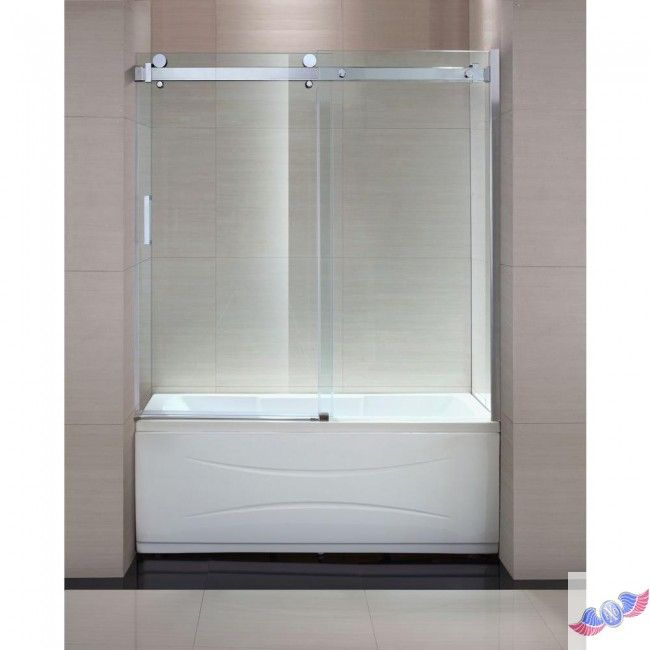 tub glass doors frameless | ... Frameless Sliding Trackless Tub/Shower Door in Chrome with Clear Glass