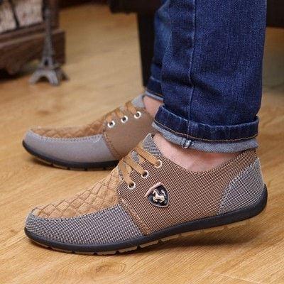 Fashionable Men's Two-Tone Canvas Shoes 3 Colors