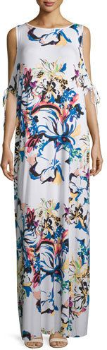 Rachel Pally Sleeveless Cold-Shoulder Printed Maxi Dress, Botanical, Plus Size