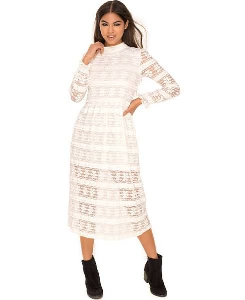 long white lace dress with sleeves