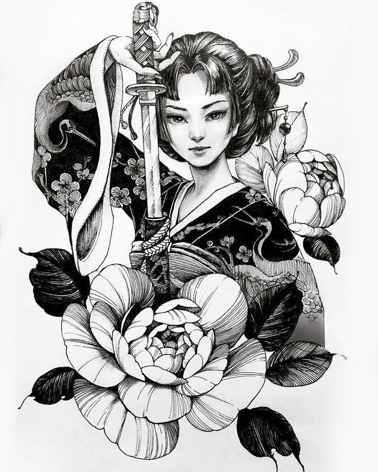 Черно-белые картинки в японском стиле