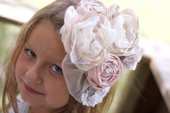 Vintage lace fabric flower wedding fascinator by sunshowerflowers