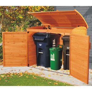 Garbage Can Storage Shed. I would love this.