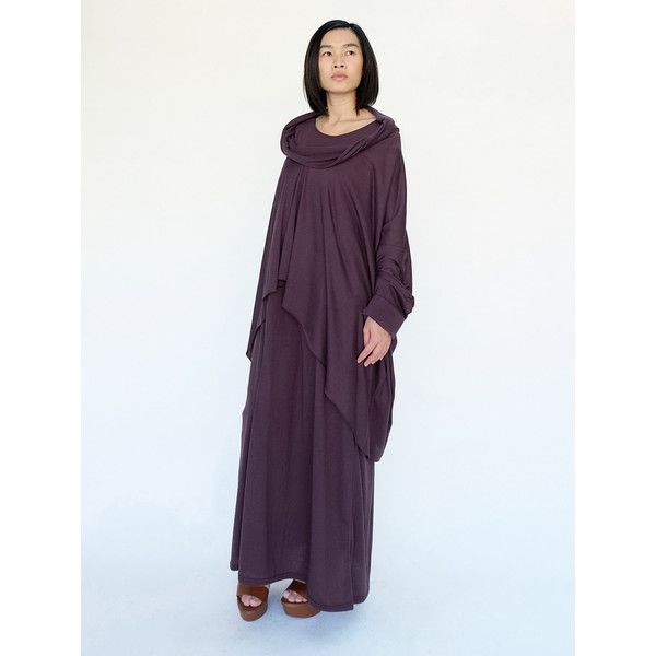 No.158 Plum Gray Cotton-Blend Jersey Slouchy Pattern Top & Dress ($58) ❤ liked on Polyvore featuring dresses, grey, women's clothing, cotton jersey, plum dress, plum long dress, asymmetrical dress and long grey dress
