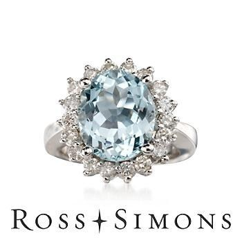 4.00ct Aquamarine, 1.00ct t.w. Diamond Ring In 14kt White Gold #Glimpse_by_TheFind
