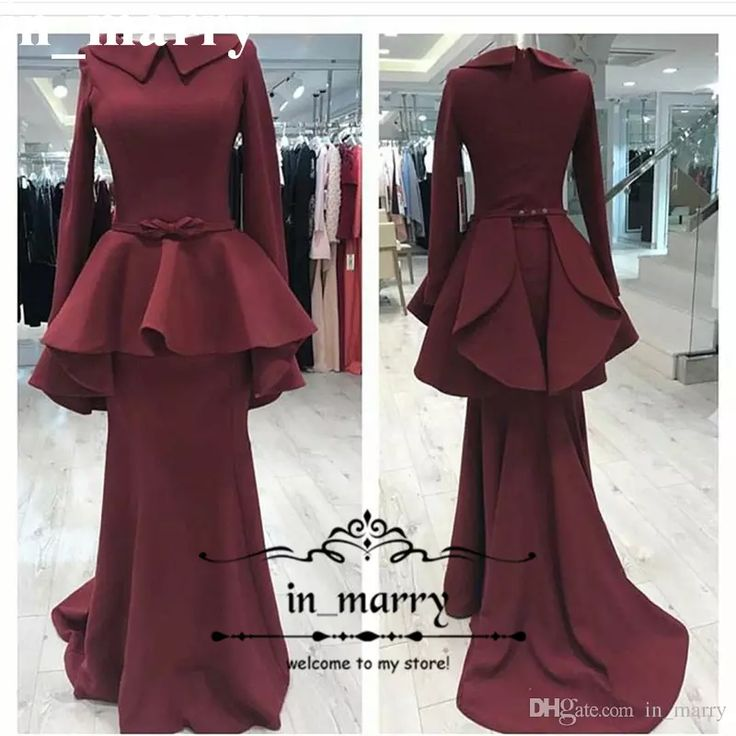 New Fashion Mermaid Muslim Evening Dresses with Long Sleeves 2017 Trumpet Peplum Long Satin Cheap Simple Formal Dresses Evening Wear Gowns Mermaid Evening Dresses Arabic Evening Dresses Plus Size Evening Dresses Online with $187.43/Piece on In_marry's Store | DHgate.com
