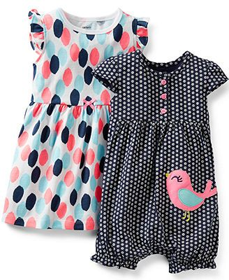 Carter's Baby Girls' 3-Piece Dress, Romper & Panty Set
