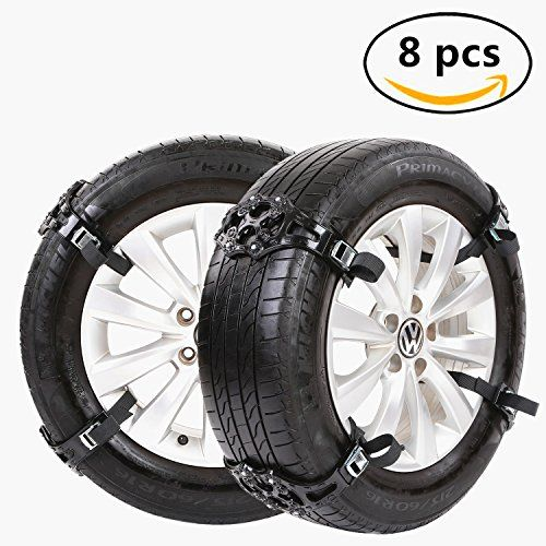 Car Universal Tire Safety Anti-Skid Chain Set of 8 Snow Tire Chain for,auto snow chains, Tire Width 165-265mm,Black. For product info go to:  https://www.caraccessoriesonlinemarket.com/car-universal-tire-safety-anti-skid-chain-set-of-8-snow-tire-chain-forauto-snow-chains-tire-width-165-265mmblack/