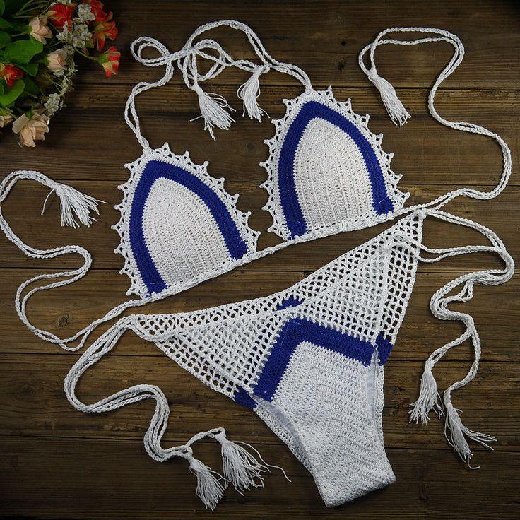 Handmade Women's Bikini Set Sexy Swimwear stripe Crochet Bikini trunks lining #Handmade #BrazilianBikini