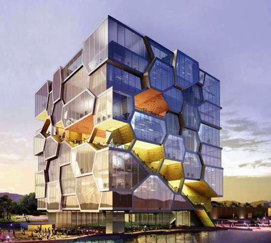 Honeycomb Architecture The Acme UN Memorial Building Metaphorically Unites Nations