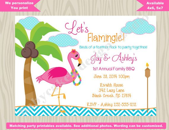 Flamingo Luau invitation Flamingo invitation BBQ Luau Hawaiian