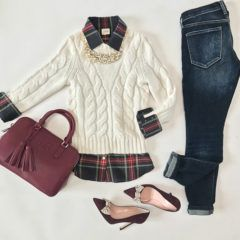 bow pumps, Cable knit sweater, J.Crew plaid shirt, Pearl bib necklace, Tory Burch thea double zip satchel