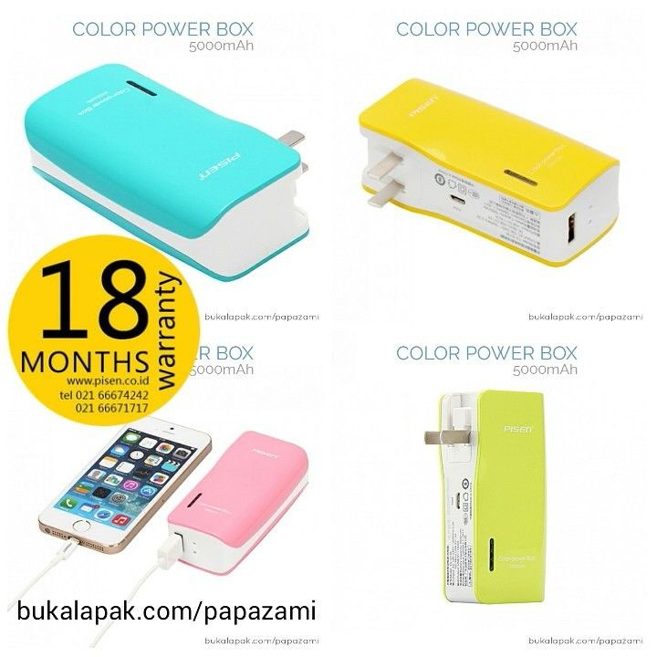 Pisen Color Power Box 5000mAh Cuma 220rb  Product Name: Color Power Box Brand: Pisen Type: Mobile Power Bank Weight: 163g Capacity: 5000mAh Battery Type: Li-on Dimension: 98.8 * 45 * 30mm Output: AC 100-240V ~ 50/60Hz 0.3A DC Micro USB 5V=1A Input: USB 5V=1A/2A  Online shopping: www.bukalapak.com/papazami  Fast Order: HP/WA/TG: 0815-1100-6400 BBM: 5E2E9F7F LINE ID: papazami  #pisen #powerbank #papazami #onlineshop