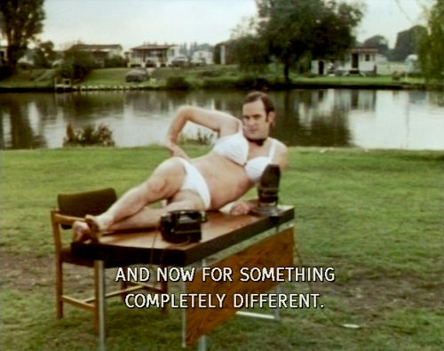 And now for something completely different. Monty Python: John Cleese