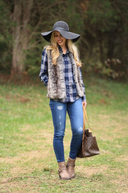 buffalo plaid flannel shirt with fur vest, gray faux fur vest, AG Adriano Goldschmied distressed legging jeans, Frye Phillip Harness gray boots, gray wool floppy hat, Louis Vuitton totally mm tote