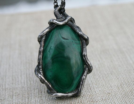 malachite pendant green pendant green necklace handmade #Malachite #GreenPendant #Necklace #Handmade