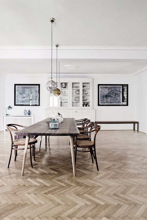 herringbone floors. This example may be too much pattern but yours would be confined in a box of sorts...