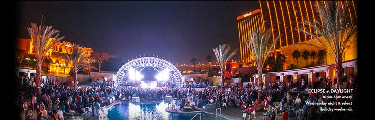 DAYLIGHT Beach Club features daybeds, private cabanas and the energy that defines the Vegas pool scene. The late-night pool party, Eclipse, includes a sprawling stage, music by world-class DJs and six massive LED screens.