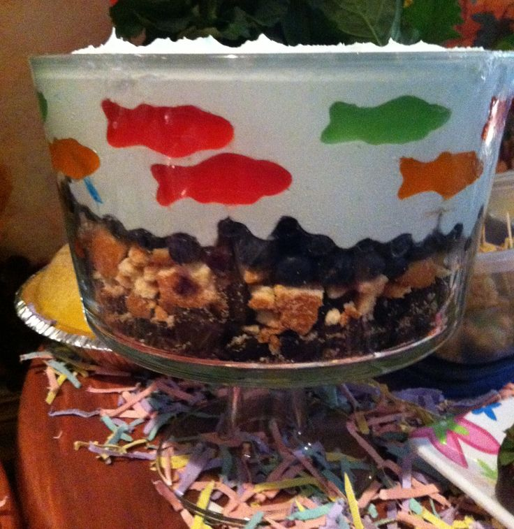 Fish or ocean themed trifle for a fish themed baby shower for Fishing baby shower