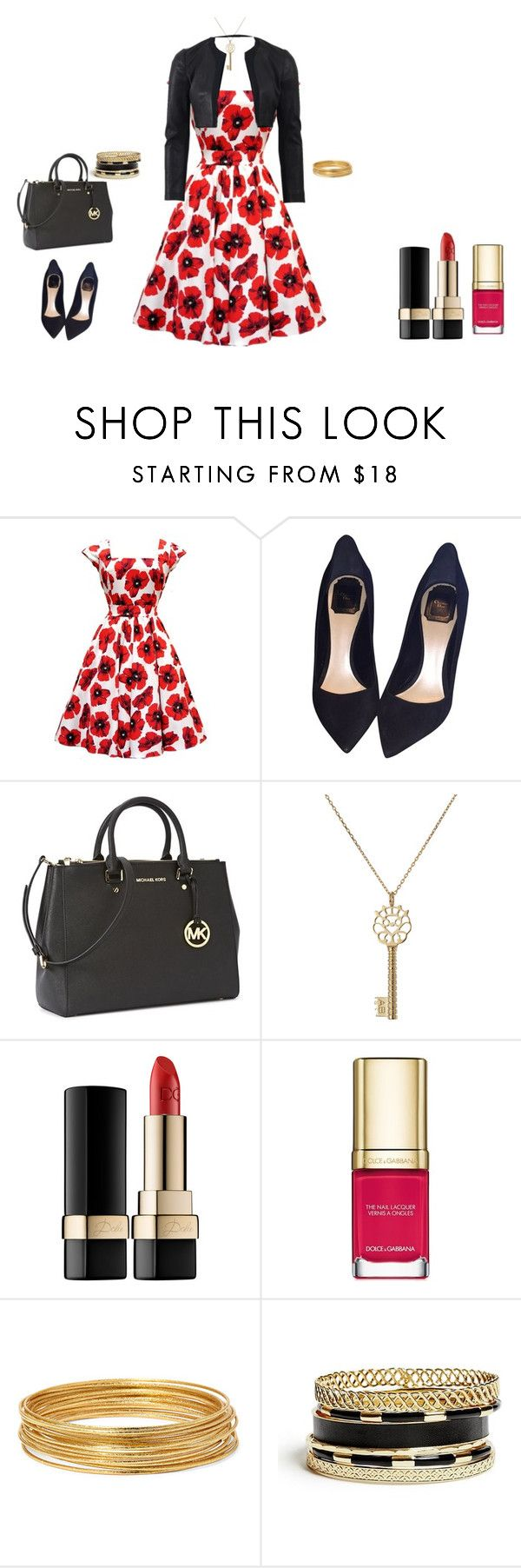 Red, black and white by cindy-renee-miller on Polyvore featuring Narciso Rodriguez, Christian Dior, Michael Kors, Aurélie Bidermann, GUESS, Bold Elements and Dolce&Gabbana
