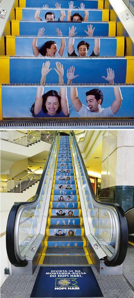 Creative advertising on an escalator, Guerrilla Advertising.